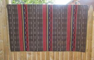 Antique Wool Multicolor Hand Woven Coverlet Blanket Old Loved
