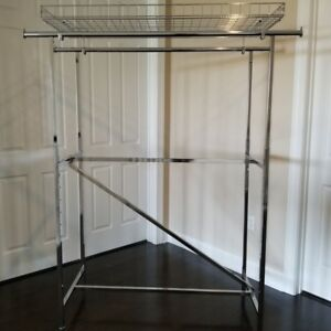 Double Rail Clothing Garment Rack Chrome Including Z Brace And Wire Basket