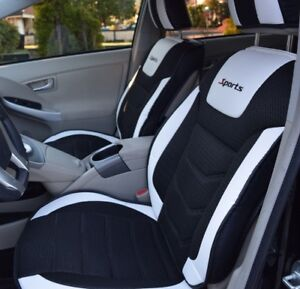 Seat Covers Set Pu Leather Cooling Mesh Black White Fits Bmw Series5 Xdrive