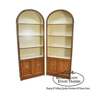 Henredon Regency Style Vintage Pair Of Walnut Arch Top Bookcases