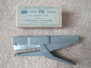 Vintage Markwell Mp4 Plier Stapler With Box Of Staples