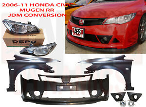 New 06 11 Honda Civic Jdm Mugen Rr Conversion Bumper Fenders Headlight Oe Hood