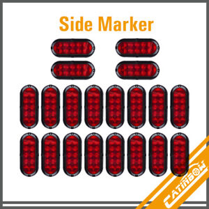 20pcs Red 10led 6 Oval Truck Trailer Stop Turn Warn Tail Light Led Mount 12v