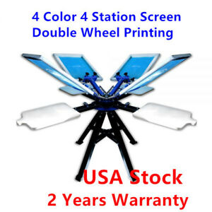 4 Color 4 Station Screen Double Wheel Printing Machine Press Silk Screen Printer