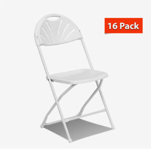 Fan Back Folding Chair White 16 Pack Steel Frame Event Party School Office Chair