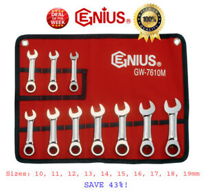 sale 10pc Stubby Ratchet Wrench Spanner Set By Genius Tools Usa