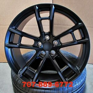 20 Staggered Daytona Style Wheels Satin Black Fit Dodge Charger Challenger M392