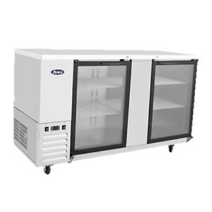 Atosa Mbb69g 68 Double Glass Door Stainless Steel Back Bar Refrigerator
