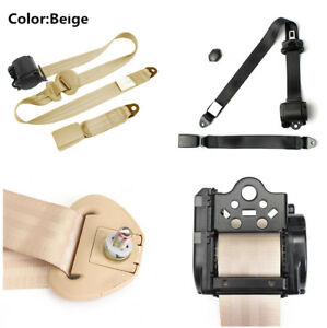 Retractable 3 Point Auto Car Safety Seat Lap Belt Diagonal Belt Set Kit Beige