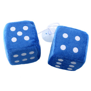 Pair Blue Fuzzy Dice Dots Rear View Mirror Hangers Vintage Car Auto Accessories