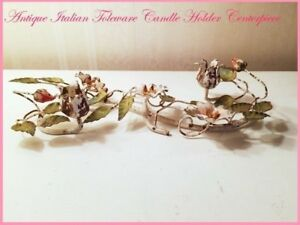 Vintage Italian Toleware Candle Holder Tole Centerpiece Pink Roses Chic Flowers