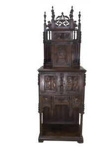 Superb French Gothic Cabinet 19th Century Walnut Tall Spires