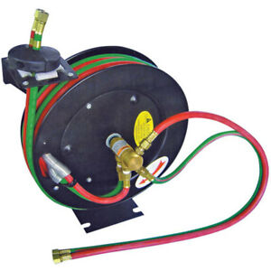 Cutting Torch Hose Reel Retractable Automatic 50 1 4 Oxygen Acetylene Included