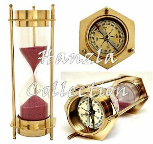 Brass Nautical Compass Hourglass Antique Sand Timer Maritime Desk Accessory Gift