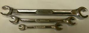 Vintage Snap on 3pc Sae 6pt Double End Flare Nut Wrench Set