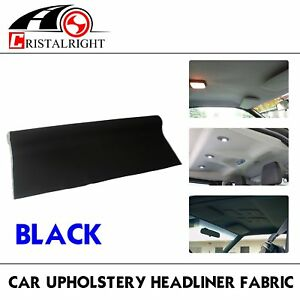 Black Auto Headliner Upholstery Fabric Material Foam Backing 85 x60