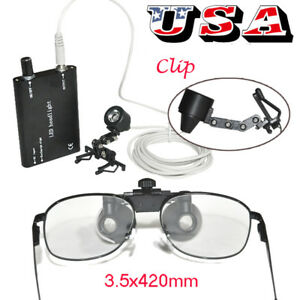 Dental Loupes Metal Surgical Binocular Loupe 3 5x 420mm Clip on Led Head Light