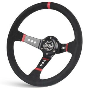 350mm Genuine Suede Leather Deep Dished Steering Wheel With Sparco Horn Button