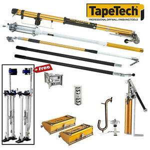 Tapetech Drywall Taping Tools Pro Full Set With Mudrunner Free Stilts New