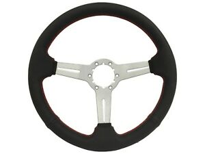 Volante S6 Perforated Black Leather Steering Wheel Brushed Center