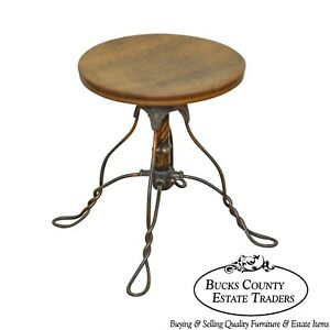 Antique Victorian Oak Round Seat Piano Stool W Twisted Wrought Iron Metal Base