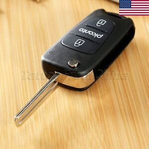 Car Fold 3 Button Flip Remote Key Fob Shell Case Replacement Fit For Kia Picanto