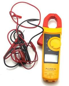 Fluke Clamp Meter Model 333 With Leads Instruction Card Storage Case Used