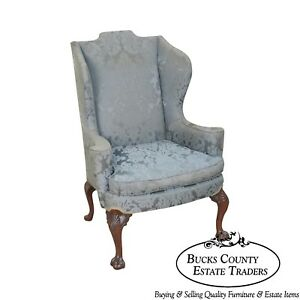 Chippendale Style Custom Mahogany Ball Claw Foot Wing Chair