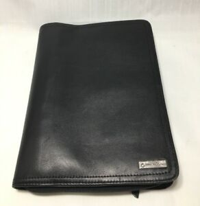 Vtg Black Franklin Covey Full Grain Nappa Leather Compact Unstructured Binder