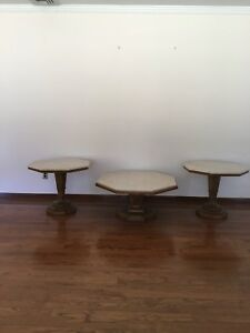 Weiman Pedestal Fruitwood Marble Top Tables