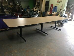 Johnson Tables 12 X 4 Conference Table With Metal Pedestal Legs base