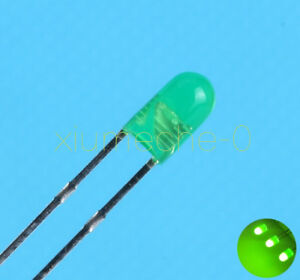 200pcs Super Bright 3mm Round Top Diffused Green Light Emitting Diode Lamps