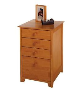 4 Drawer Wood File Cabinet Honey Pine Office Organizer Storage End Table Roomy