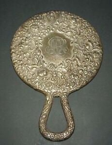 Gorham Sterling Silver Hand Mirror Antique Repousse C 1870