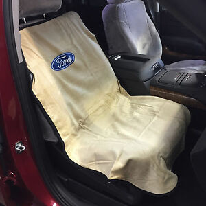 Ford Logo Car Seat Towel Slip on Cotton Terry Cloth Tan Seat Cover 47 X 24