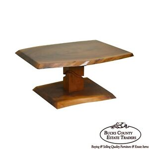 Studio Solid Walnut Free Form Slab Coffee Table Signed