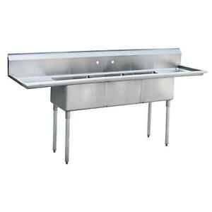 Atosa Mrsa 3 d Mixrite 18 x18 3 Compartment Stainless Steel Sink