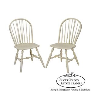 Habersham White Painted Pair Of Windsor Side Dining Chairs
