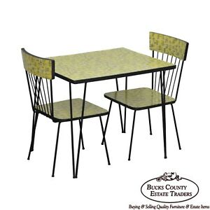 Mid Century Modern Wrought Iron Formica Childs Table 2 Chair Kitchen Set