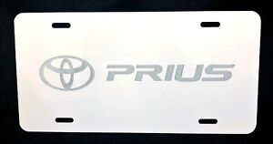 Toyota Prius Car Tag Diamond Etched On White Aluminum License Plate