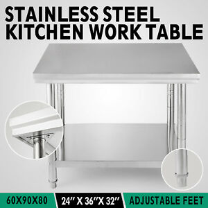 24 x36 Stainless Steel Kitchen Work Prep Table Cafeteria Commercial Restaurant