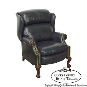 Hancock Moore Black Leather Chippendale Style Ball Claw Recliner Wing Chair