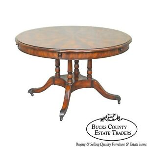 Theodore Alexander 50 74 Round Mahogany Dining Table W Outside Leaves