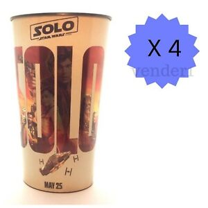 New (4) Solo A Star Wars Story & Coca-Cola 44-ounce Movie Theater Cups