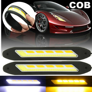2x Led Cob Drl Daytime Running Fog Driving Light Strip Turn Signal Lamp 12v