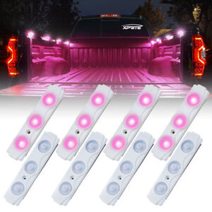 Xprite Pink 8 Led Rock Light Pods Strip Offroad Truck Bed Lighting Kit W Switch
