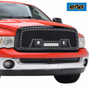 03 05 Dodge Ram 2500 3500 Replacement Grille Rivet Ss Wire Mesh W 3 Led Lights