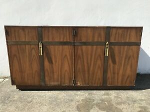 Mid Century Buffet Wood Cabinet Console Table Hollywood Regency Vintage Brass