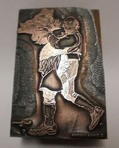 Vintage Letterpress Printing Block Cut Man With Boars Pig Head On Plate