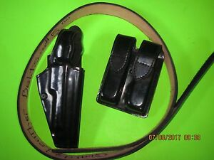 Police Duty Leather Belt Hook Loop Closure 44 Waist 54 Overall Holster